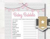 Baby Shower Word Scramble: Tickled Pink - Baby Babble Game - 2 Sizes- INSTANT DOWNLOAD - #2206