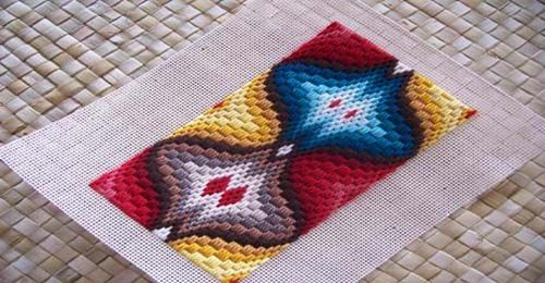 Day 33: A Colorful Portrait of A Traditional Bargello Needlepoint Design - pattern contains the portrait or vertical motifs found on pp. 86-87 of Bargello: An Explosion In Color by Margaret Boyles