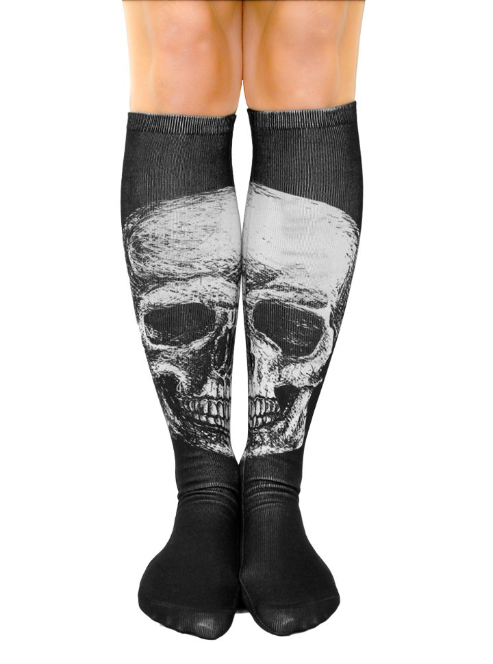 Skull Knee High Socks by Inked (Black)