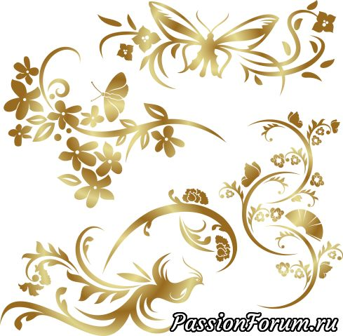 Золотые птицы бабочки цветы