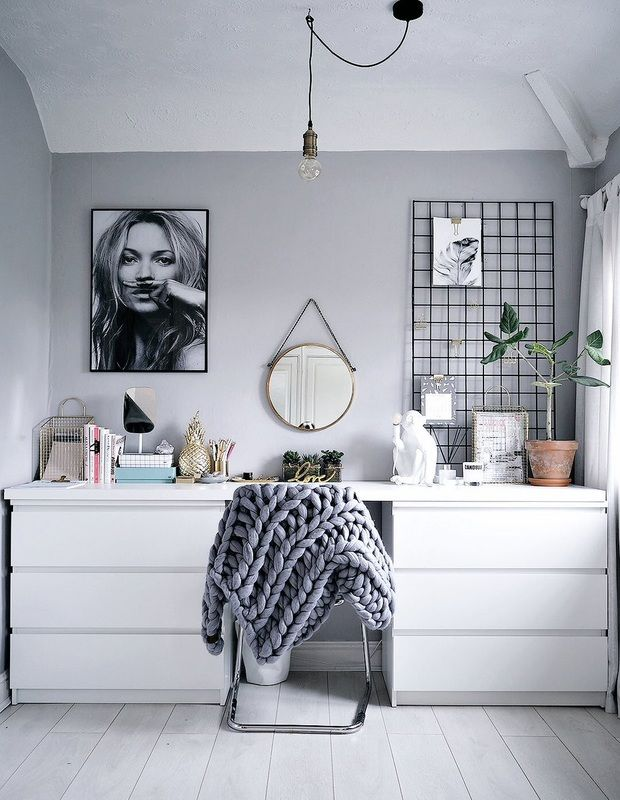 DREAM WORKSPACE IDEAS - FROM LUST LIVING - with 2 Ikea Malm drawers and a shelf in the same color mounted together...... lustliving.co.uk