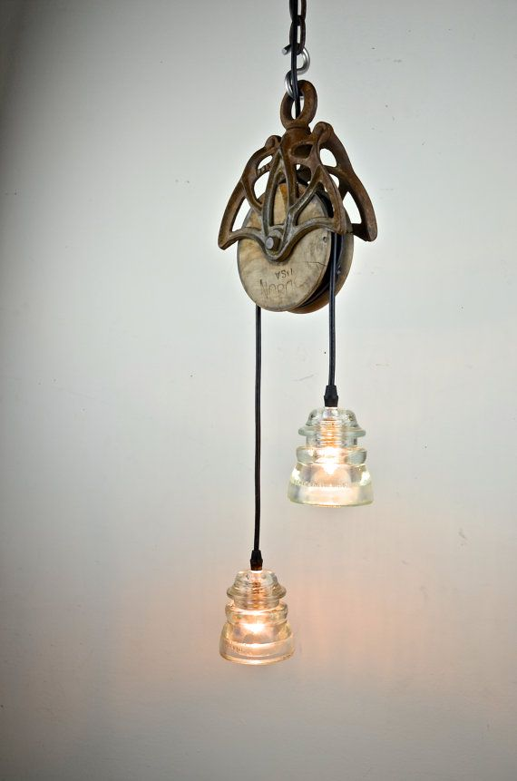 Best 25 pulley light ideas on pinterest pulley vintage for Diy glass insulator pendant light