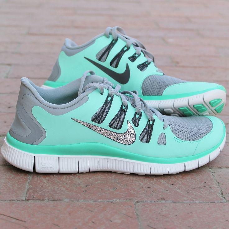 Image of Women's Nike Free w/ Swarovski Rhinestones - Green Glow…