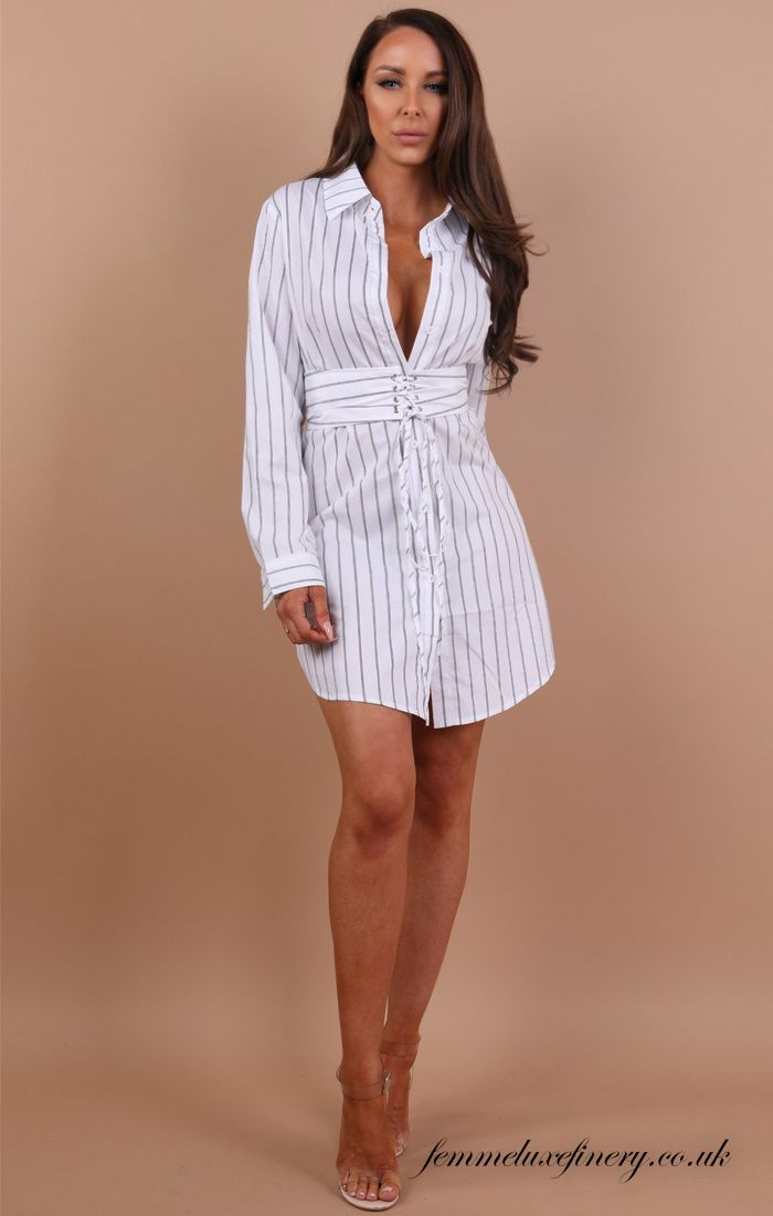 428930876f260e White Stripe Corset Shirt Dress - Tiana