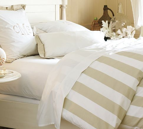 Love this soothing color combo! PB Classic Stripe 400-Thread-Count Duvet Cover amp Sham - Sandalwood  Pottery Barn