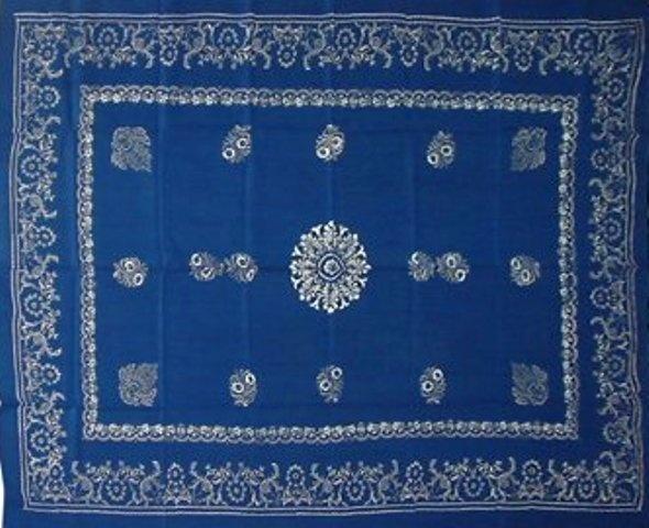 """Blue dyed folk tableclothe (""""kékfestő"""") 250x150 cm"""