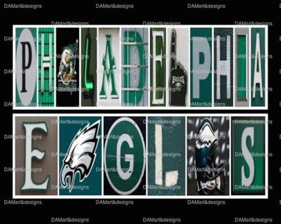 NFL Philadelphia Eagles Framed Alphabet Photo Art by DAMartStudio