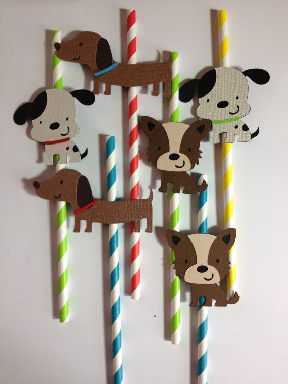 Set Of 12 Dog Party Straws, Great for Baby Showers OR Birthday, Dog Party, Puppy Party via Etsy