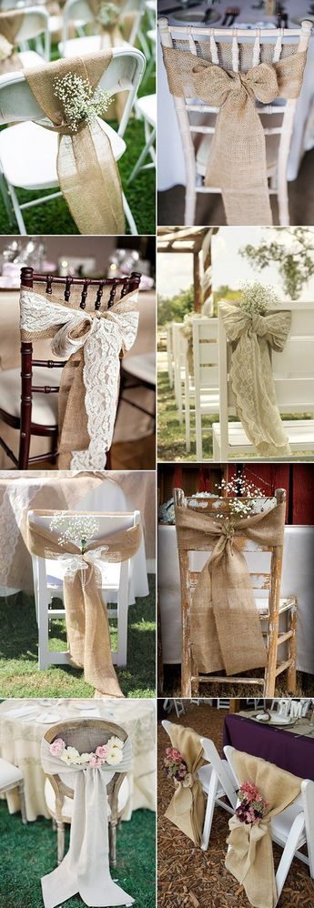 rustic burlap and lace wedding chair decorations