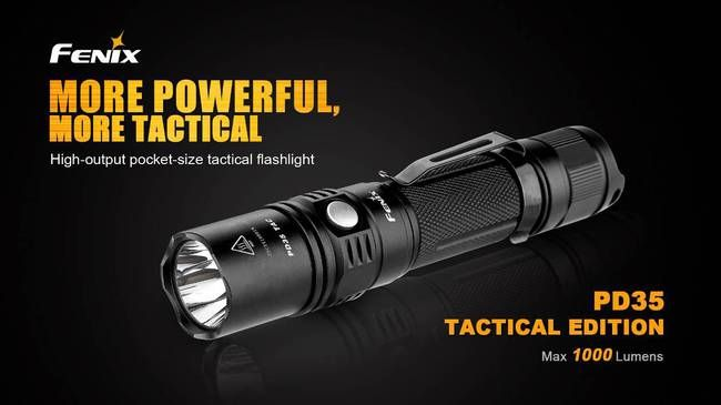 Fenix PD35TAC--our best selling tactical flashlight. With the PD35TAC, you don't get one light; you get two. When you want to operation in an outdoor setting, you have that mode. When in a tactical situation, simply switch to the Tactical Mode and you get a seamless interface for emergency situations. #Flashlights