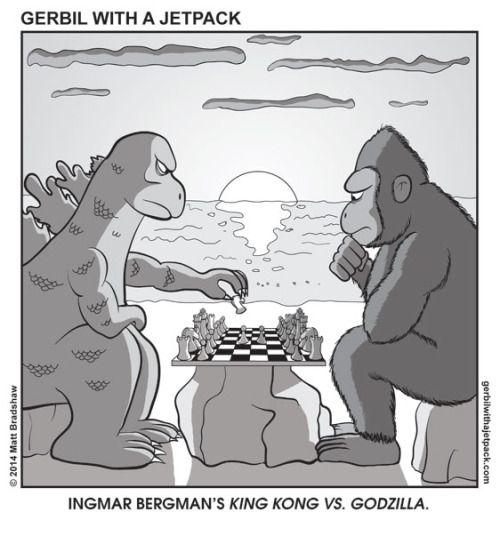 citystompers:  Ingmar Bergman's King King vs. Godzilla viaGerbil With a Jetpack