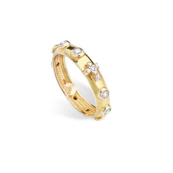 Anello rosario di Amen in argento dorato con zirconi bianchi. Porta con te la fede con i gioielli Amen in vendita sul nostro shop online.  #anello #ring #rosario #jewels #gioielli #amen #amengioielli #religione #religion
