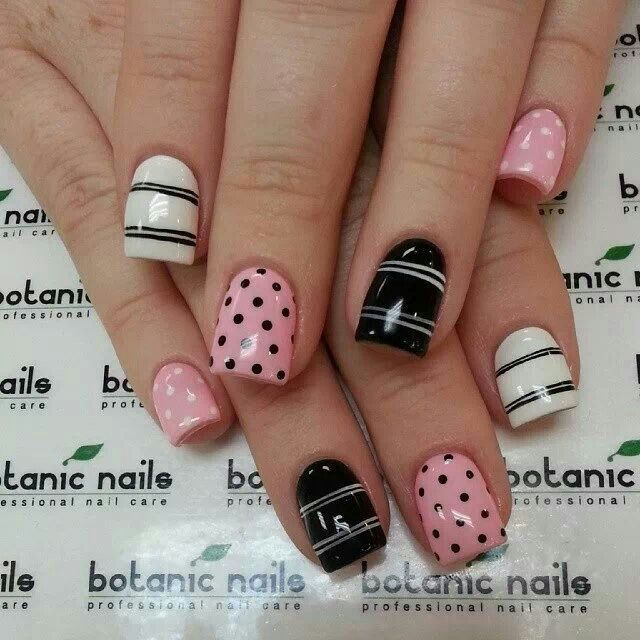 575 best nails images on pinterest nail art nailed it and nail pink white and black nail design prinsesfo Gallery