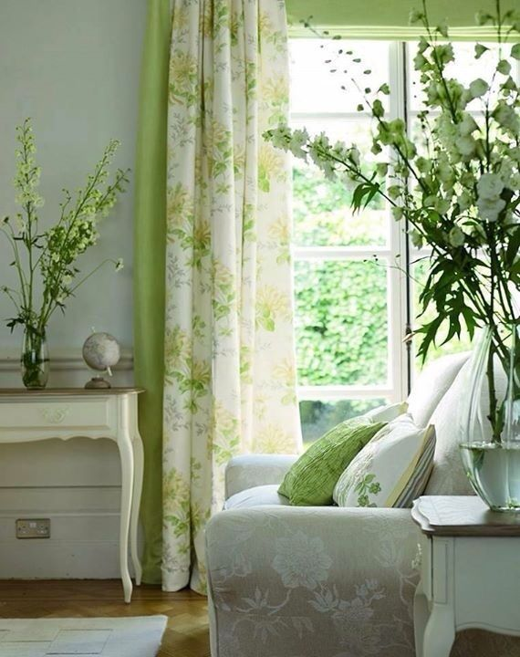 soft muted greens with white #naturalcurtaincompany