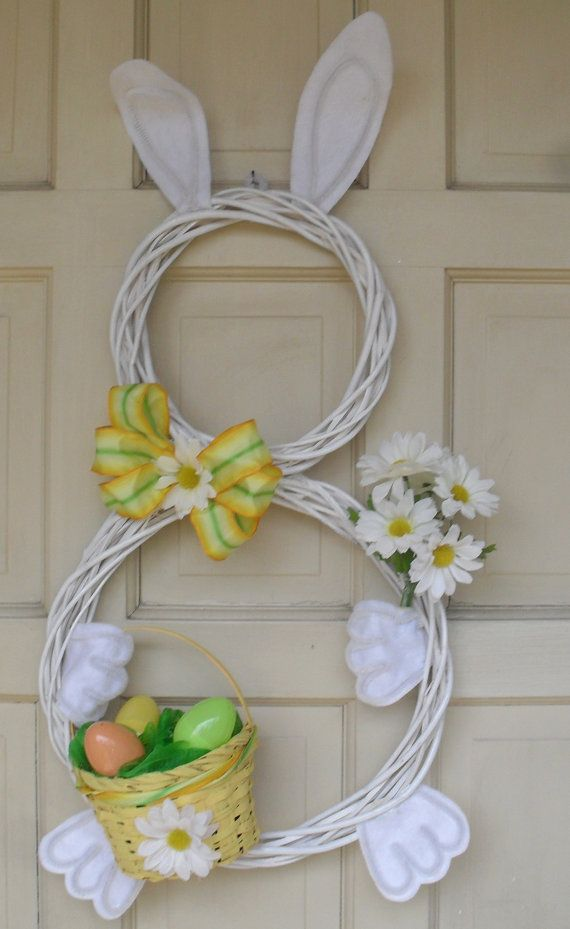 Looks possibly do-able idea for the Door. Easter Bunny Holiday Door Wreath Decoration by CustomCraftsbyLynn, $25.00.I think this is DIY!!!