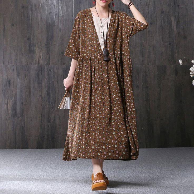 Summer Women Literature Printing Loose V Neck Short Sleeve Coffee Dress – Buykud