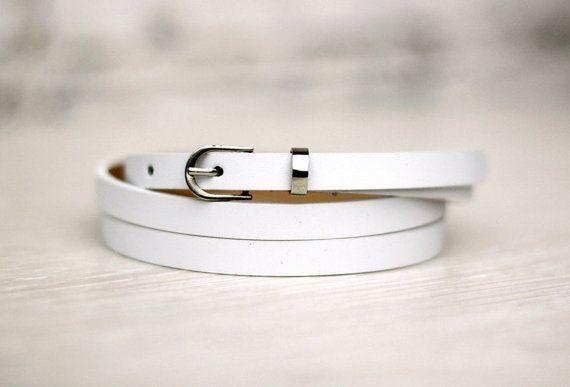 Leather belt white belt white womans belt narrow belt by LALEAS