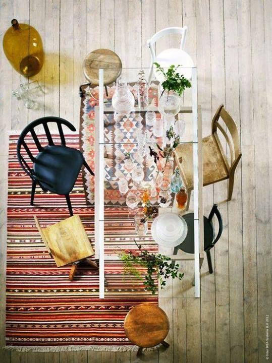 Kilim Rug Flea Market Chairs Glass Diningtable Dining TableGlass