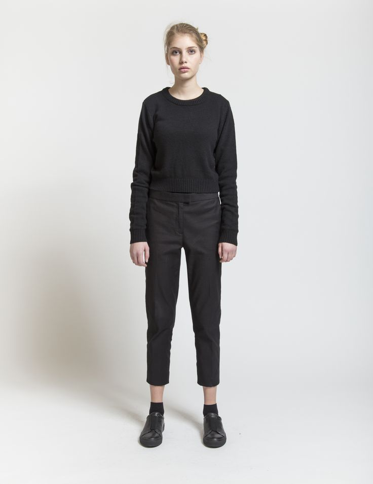 Selfhood - womensfashion outfit.  Lambswool/nylon knit crew with high waist.