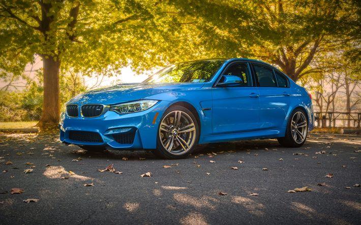 Herunterladen hintergrundbild bmw m3 f80, blau м3, sport limousine, neuwagen, deutsche autos, bmw
