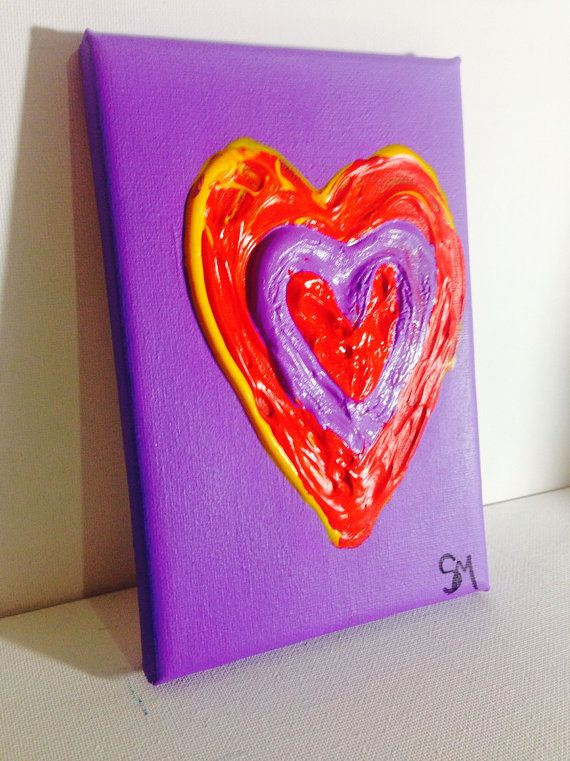 Abstract hearts on canvas-valentine's day by SachaMichelleArt