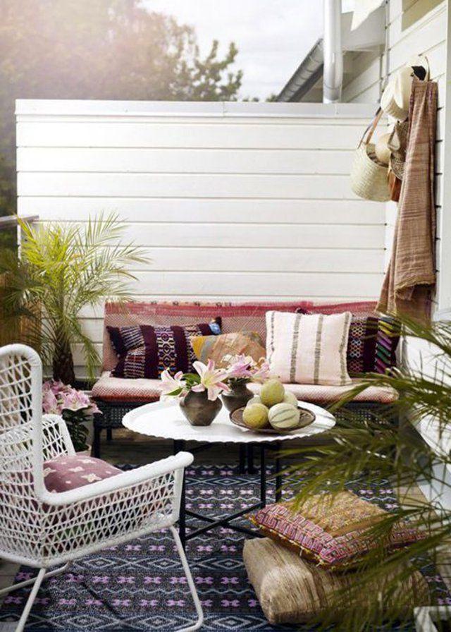 Un balcon pastel au style bohème - Marie Claire Maison
