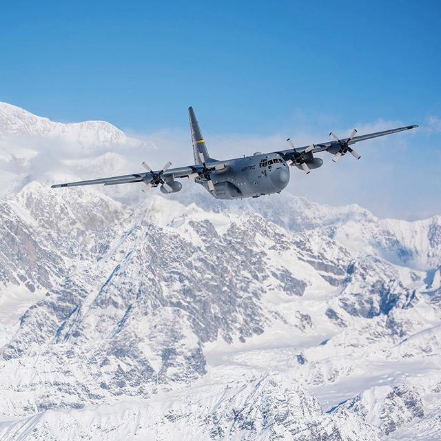 I think I can see Frosty from up here!  A C-130 Hercules from the 144th Airlift Squadron, Alaska Air National Guard, flies away from Denali, the highest point in North America, March 4, 2017. After 41 years of flying the C-130 aircraft, the 144th Airlift Squadron's eight C-130s were divested, with the planes either being transferred to outside units or retired from service. The unit's last two aircraft departed Joint Base Elmendorf-Richardson, Alaska, the following day. (U.S. Air National…