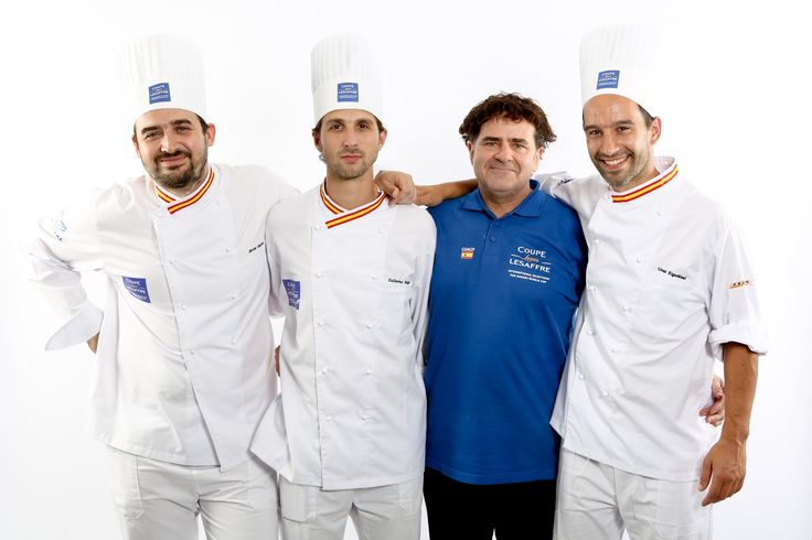 [SPANISH TEAM - Europe Selection]  Javier GARCIA MORENO - Breads candidate Guillermo MOSCOSO MOURE - Viennese pastries candidate Unai ELGEZABAL ALVAREZ - Artistic piece candidate And coach Josep PASCUAL AGUILERA  #BakeryLesaffreCup #Europe #SPAIN #bread #baking  (crédit photo @ClémentineBéjat)