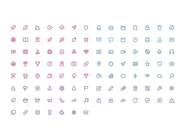 Here is a set of 105 vector shaped stroke icons released in 3 volumes on dribbble. Free PSD designed by Rami McMin.