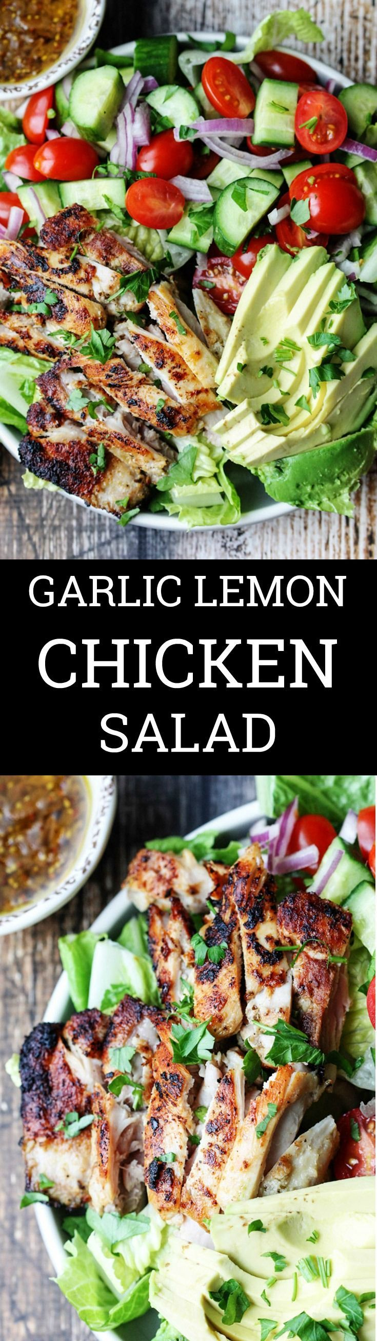 Garlic Lemon Chicken Salad with Glazed Onions Mustard Dressing is a super easy and healthy meal with lots of flavor, from easy to use Pop & Cook Crushed Garlic and Saut�ed Glazed Onions. #AD #UltimateKitchenHack @pop.and.cook #salad #chicken