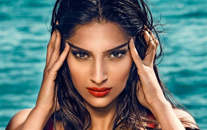 Descargar fondos de pantalla Bollywood, Sonam Kapoor, retrato, belleza, morena