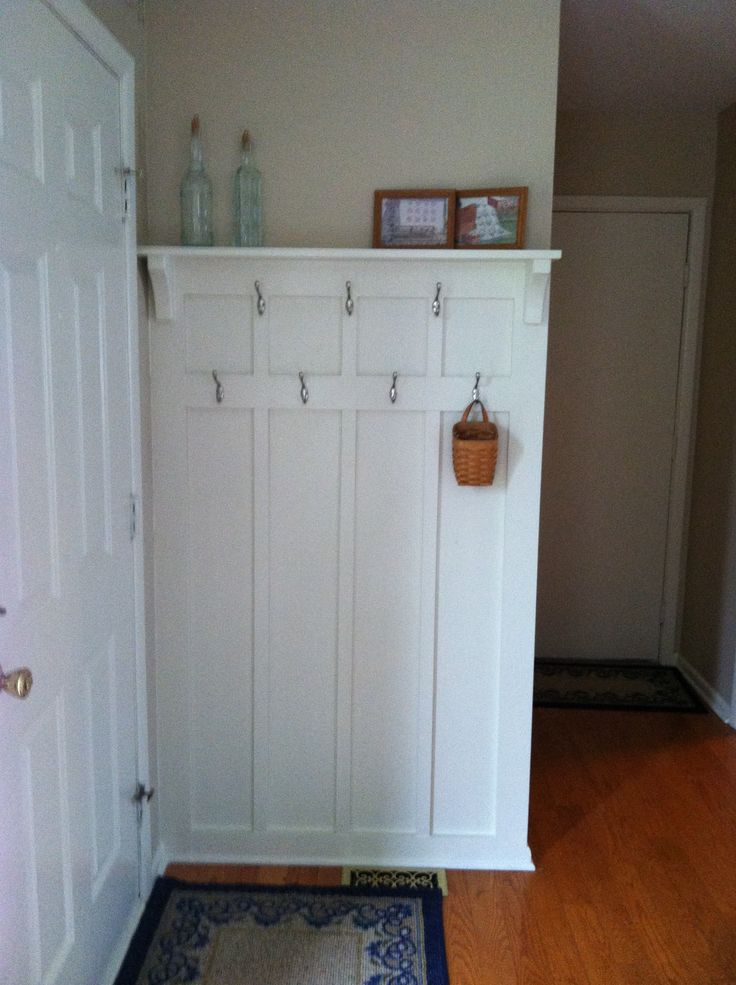 Behind the front door coat rack. Utilize every nook and cranny! Saw this on an earlier pin and had to try. Thanks to who ever pinned this!