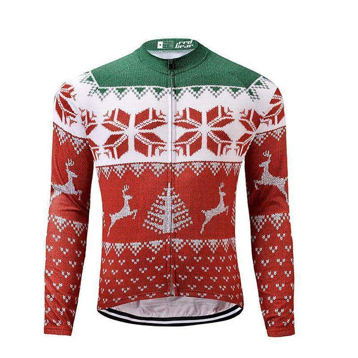 Wallmart.win DREAMSPORT Factory Outlets Fast Dry Long Sleeve Men Bike Clothing Cycling Shirt Ropa Ciclismo Christmas Theme Jerseys Bicicleta
