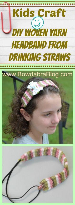 This is fun kids craft that everyone will enjoy! Learn to make a diy woven yarn headband using straws.