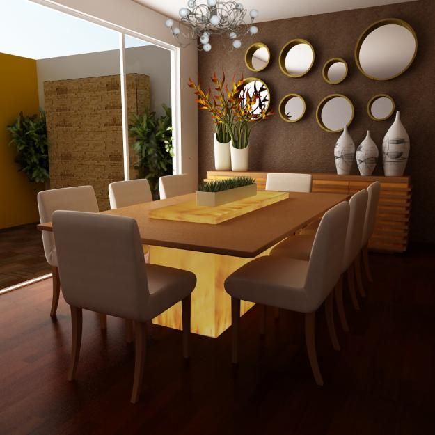 Moderno comedor decoraci n de interiores pinterest for Espejos de salon modernos