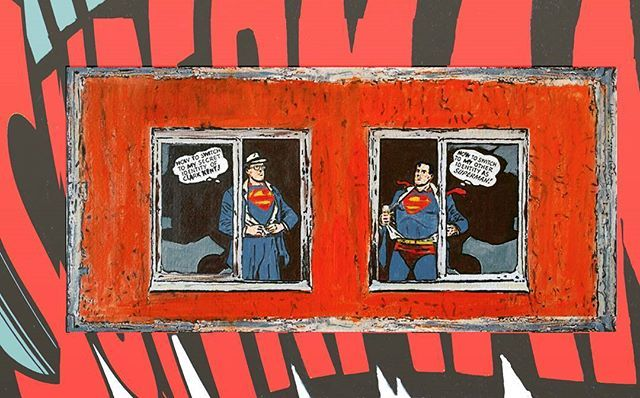 Switch (Broken Windows series) 2013 cm 25×35 #inkonpaper #acryliconpaper #workonpaper #paperart #illustration #superhero #superman #clarkent  #brokenwindows #monacoart #comics #paperpaint
