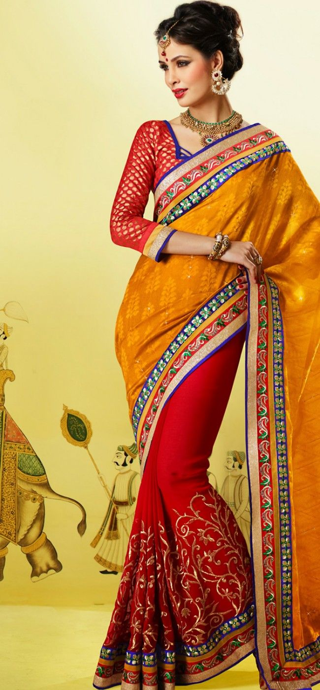Delightful yellow and red jacquard saree: KSR2512
