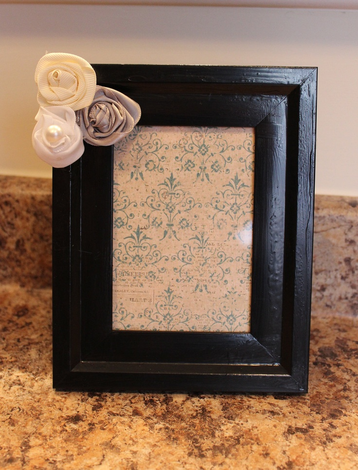 Handmade Picture Frame with Satin Ribbon Roses 4x6. $9.95, via Etsy.
