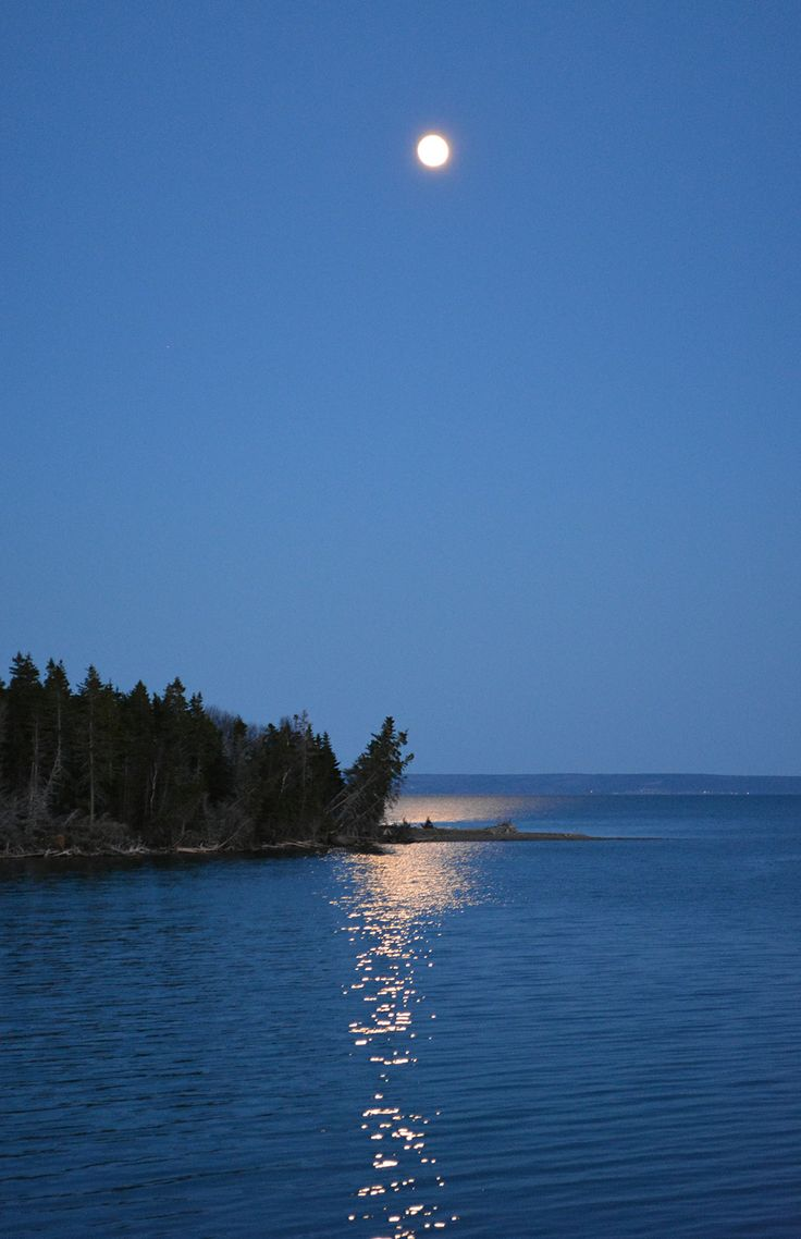 Full moon over Bras d'Or Lake.