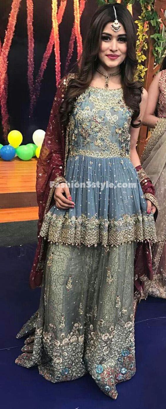 9378bf5b20 LATEST PEPLUM FROCKS WITH CIGARETTE PANTS, TULIP PANTS & BELL BOTTOM PANTS, Latest Peplum Tops and Short Frocks Designs with Sharara Gharara, and  lehenga