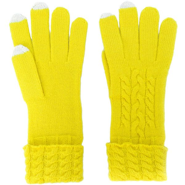 N.Peal cable knit gloves (£82) ❤ liked on Polyvore featuring accessories, gloves, cable knit gloves, yellow gloves, cable gloves and cashmere gloves