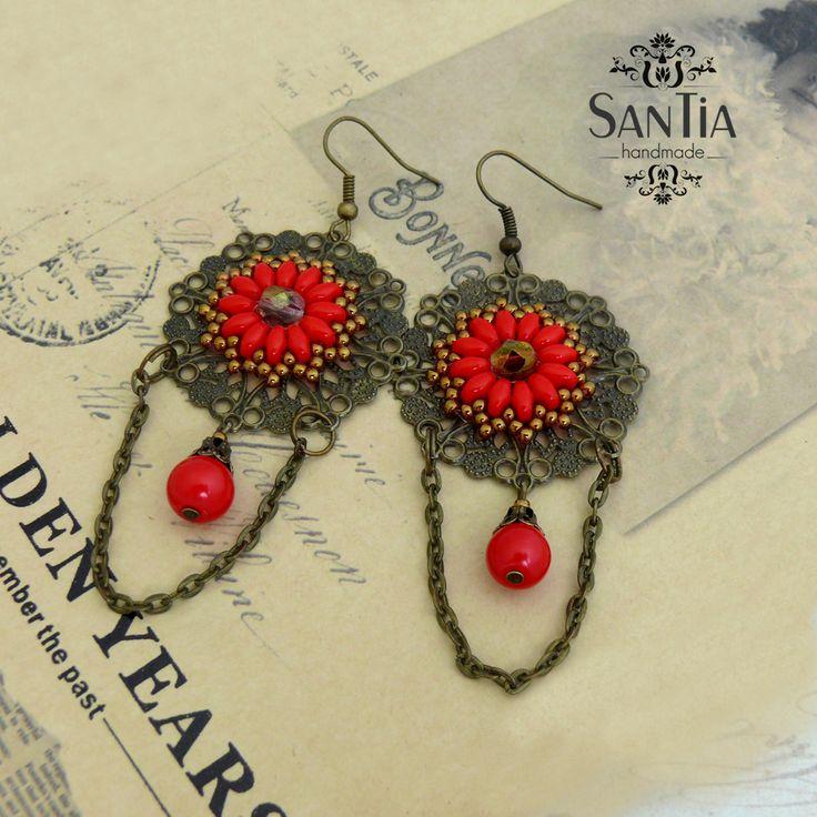 Kruhové náušnice červeno-bronzové mandalové :http://santiahandmade.com/produkt/kruhove-nausnice-cerveno-bronzove-mandalove/