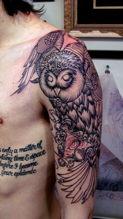 By, Mitch Kirilo at Gastown Tattoo Parlour, Vancouver, BC, Canada.: Tattoo Ideas, Tattoo Sleeve, Sleeve Tattoo, Tattoo Patterns, Shoulder Tattoo, Owl Tattoo Design, Arm Tattoo, Owls, Owl Tattoos