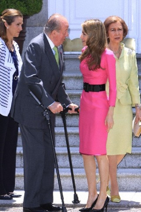 The Spanish Royal Family, (L-R) Infanta Elena, King Juan Carlos, Princess Letizia and Queen Sofia have hosted a luncheon honoring Prince Naruhito of Japan on 12 June 2013
