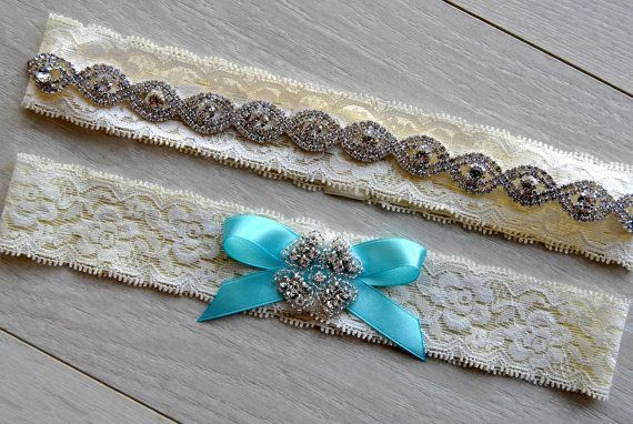 Crystal Bridal Garter Set, Wedding Garter Set Ivory Lace Bow Rhinestone Garter,Navy Blue Crystal Rhinestone Garter and Toss Garter Set
