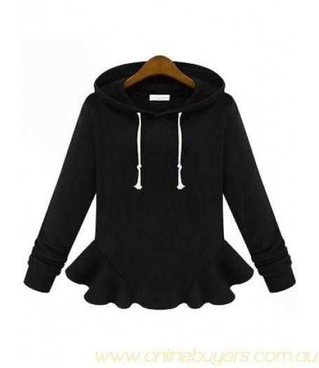 Black Hooded Long Sleeve Ruffle Sweatshirt