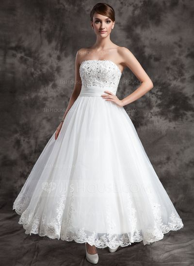 Wedding Dresses - $ 154.99 - A-Line / Princess Strapless Ankle-Length Organza Satin ...