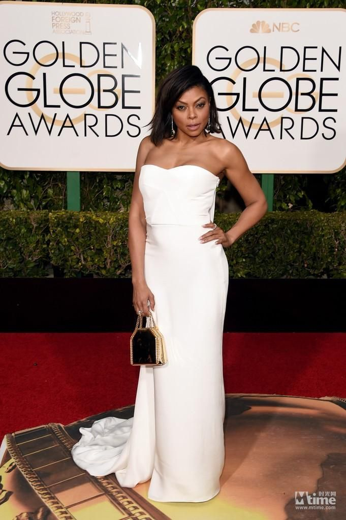 Strapless Golden Globe Awards Evening Dresses Sheath Zipper Back White Taraji P. Henson Prom Dress Sweep Train Satin Celebrity Gowns Online with $98.96/Piece on Magicdress2011's Store | DHgate.com