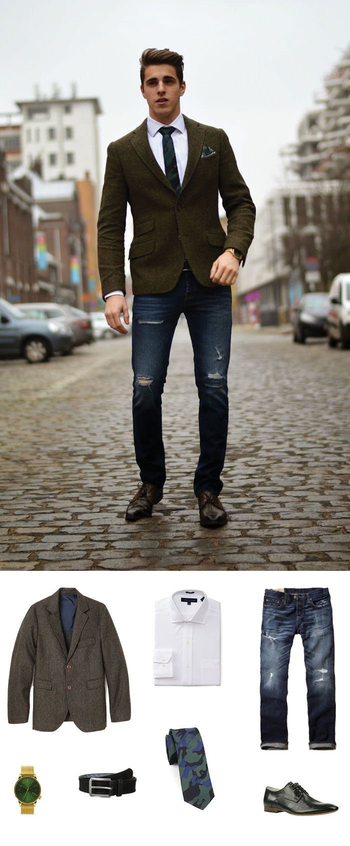 Camo is everywhere in menswear. Get this dapper look of a camo skinny tie, blazer and deconstructed jeans.