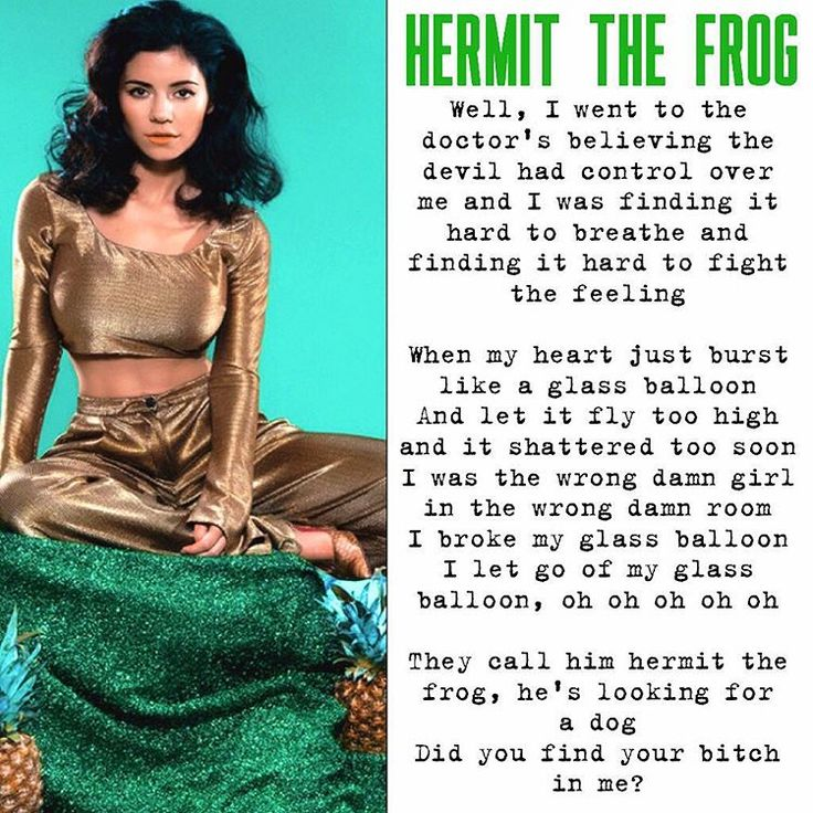 """Let's be real, Hermit The Frog is so underrated for such a fab song. Also, I'm still waiting for the day when Marina will bring it back to her live shows "" #Marina_Diamandis #marinaandthediamonds"